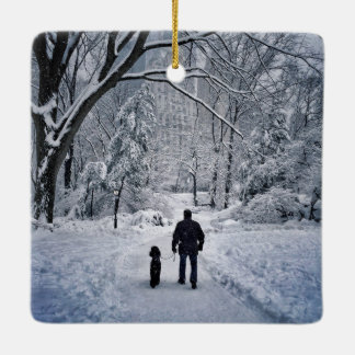 Winter Dog Walk Ceramic Ornament