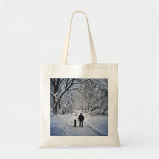 Winter Dog Walk Tote Bag