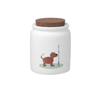 Winter Doggy Pole Candy Dish