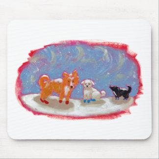 Winter dogs in snow boots fun cute modern folk art mouse pad
