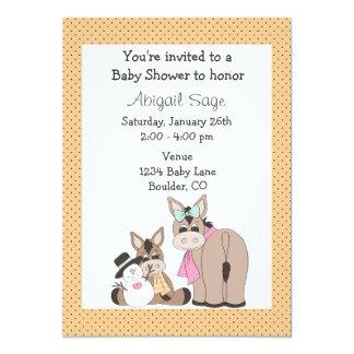 Winter Donkey Baby Shower Invitation