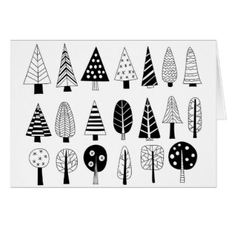 Winter doodle trees card