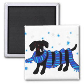Winter Doxie, magnet 2 Inch Square Magnet