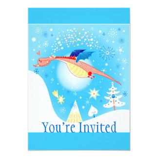 Winter Dragon Flying Through Snowflakes Card