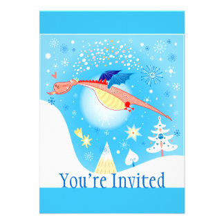 Winter Dragon Flying Through Snowflakes Personalized Invites