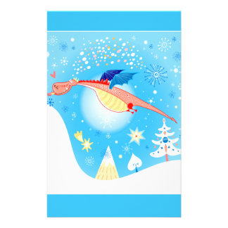 Winter Dragon Flying Through Snowflakes Stationery