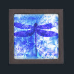 "Winter Dragonfly Jewelry Box<br><div class=""desc"">Winter dragonfly design in blue</div>"