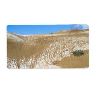 Winter dunes landscape label