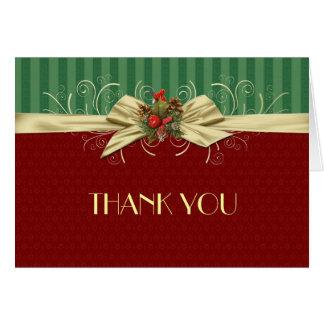 Winter Elegant Damask Christmas Thank you Card