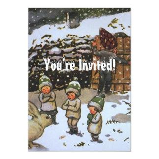 Winter Elves Vintage 5x7 Paper Invitation Card