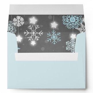Winter Envelope Snowflakes Grey blue onederland