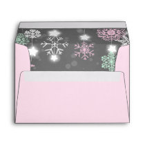 Winter Envelope Snowflakes Grey pink onederland