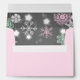Winter Envelope Snowflakes Grey pink onederland
