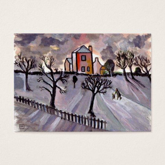 Winter evening business card