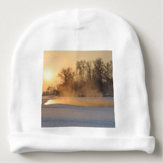 Winter Evening by the Frozen Lake Baby Beanie