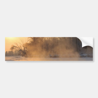 Winter Evening by the Frozen Lake Bumper Sticker