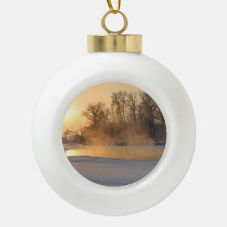 Winter Evening by the Frozen Lake Ceramic Ball Christmas Ornament