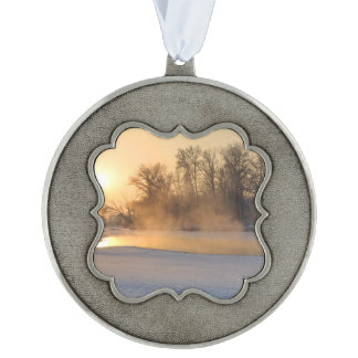 Winter Evening by the Frozen Lake Pewter Ornament