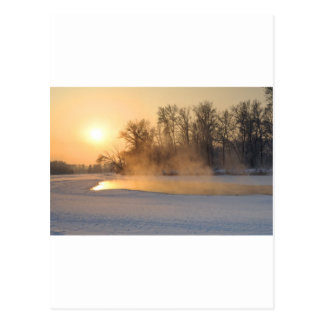 Winter Evening by the Frozen Lake Postcard