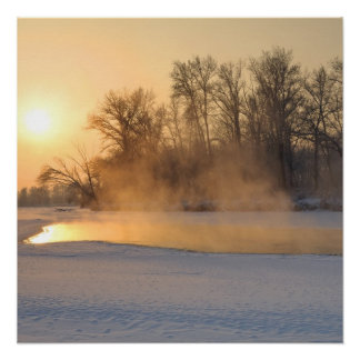 Winter Evening by the Frozen Lake Poster