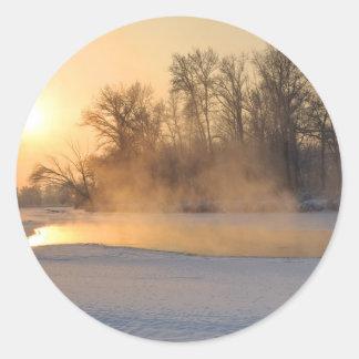 Winter Evening by the Frozen Lake Round Sticker