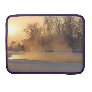 Winter Evening by the Frozen Lake Sleeve For MacBook Pro