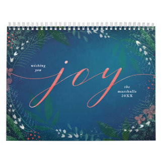 Winter Evening Joy Script Holiday Photo Calendar