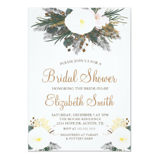 Winter Evergreen Bridal Shower Invitation