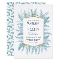 Winter evergreen foliage watercolor blue wedding invitation