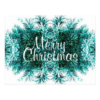 Winter Evergreen Garland Christmas Tree Decoration Postcard