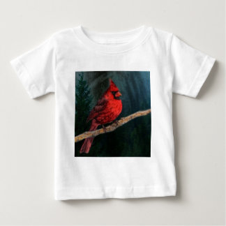Winter Evergreen Primitive Christmas Red Cardinal Baby T-Shirt