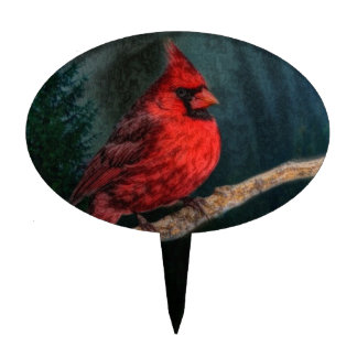 Winter Evergreen Primitive Christmas Red Cardinal Cake Topper