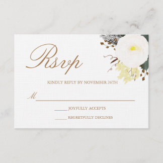 Winter Evergreen Wedding RSVP Card