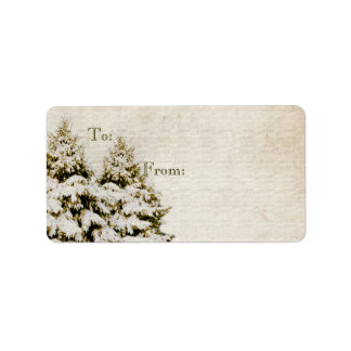 Winter Evergreens Vintage Christmas Gift Tag Custom Address Label