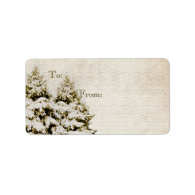 Winter Evergreens Vintage Christmas Gift Tag Custom Address Label