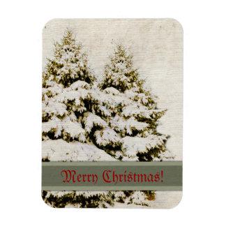 Winter Evergreens Vintage Flexible Magnet