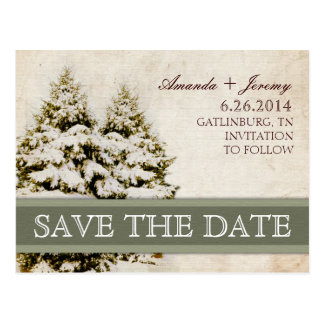 Winter Evergreens Vintage Save the Date Postcards