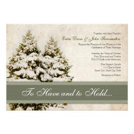 Winter Evergreens Vintage Wedding Invitations