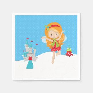 Winter fairies paper napkin
