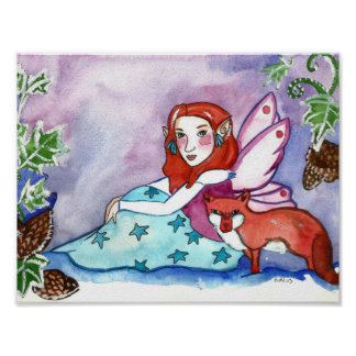 Winter Fairy and Fox Art Poster