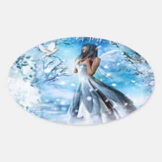 Winter Fairy Oval Sticker