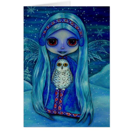 Winter Fairy with Ear Muffs and Snowy Owl Friend Card