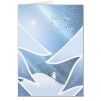winter, fantasy, december, xmas, christmas, pine, trees, star, holidays, hills, snow, snowflake, aurora, stars, glitter, rays, Card with custom graphic design