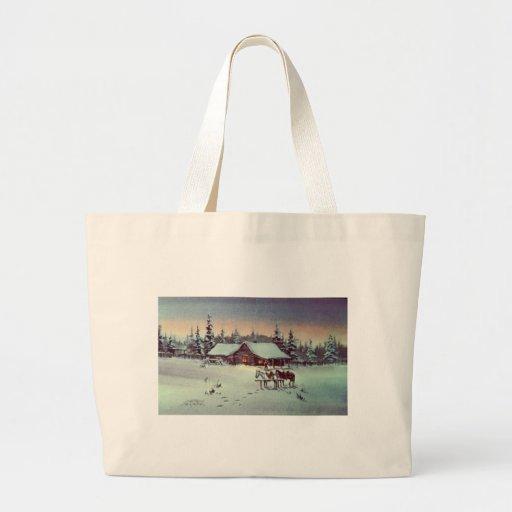 WINTER FARM  by SHARON SHARPE Canvas Bags