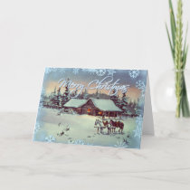 WINTER FARM  by SHARON SHARPE Holiday Card