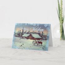 WINTER FARM  by SHARON SHARPE Holiday Card