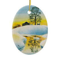 Winter Farm Ceramic Ornament