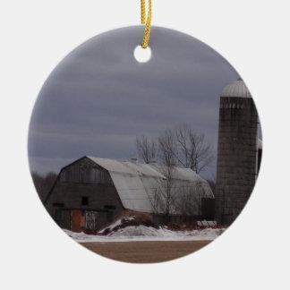 Winter Farm Land Ceramic Ornament