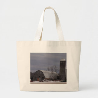 Winter Farm Land Large Tote Bag