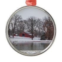 Winter Farm Pano Metal Ornament